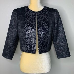 Carmen Marc Valvo Black Cropped Jacket 6